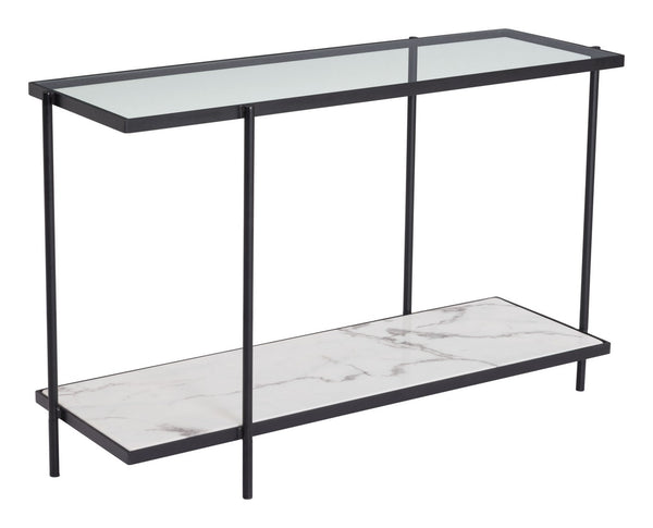 Zuo Modern Winslett Console Table Clear & White & Matt Black - 100993