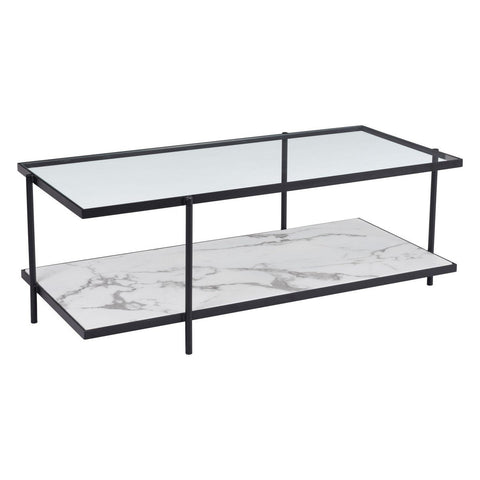 Zuo Modern Winslett Coffee Table Clear & White & Matt Black - 100995