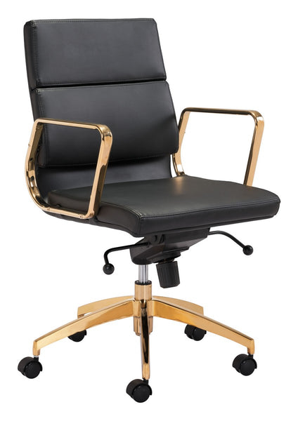 Zuo Modern Scientist Low Back Office Chair Blk & Gd - 101017