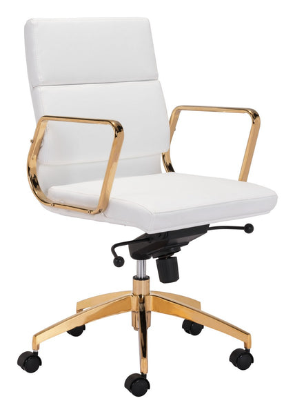 Zuo Modern Scientist Low Back Office Chair Wht & Gd - 101018