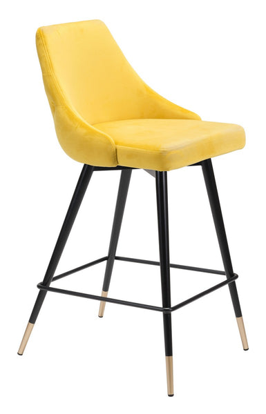 Zuo Modern Piccolo Counter Chair Yellow Velvet  - 101095