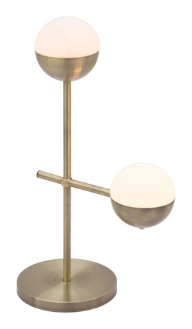 Zuo Modern Waterloo Table Lamp White & Brushed Brass - 56050