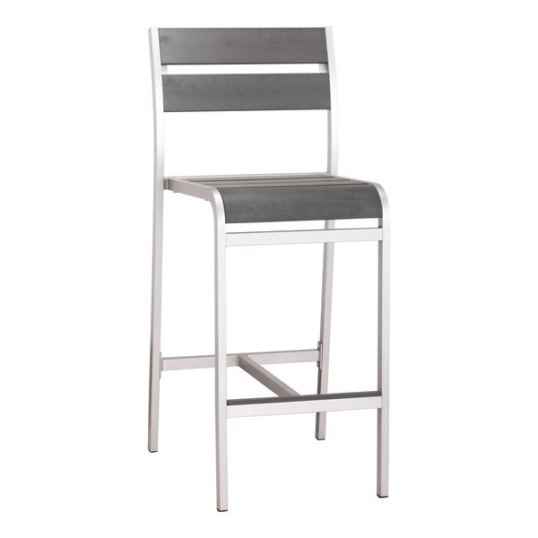 Zuo Modern Megapolis Bar Armless Chair (Set of 2) Brushed Aluminum - 703186