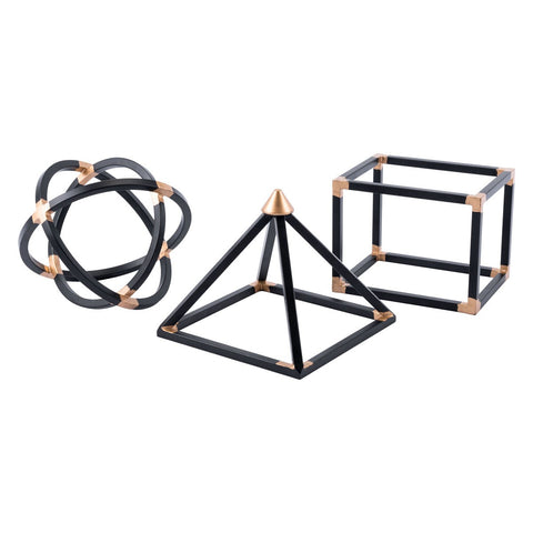 Zuo Modern Geo Shapes Set Of 3 Black - A10334