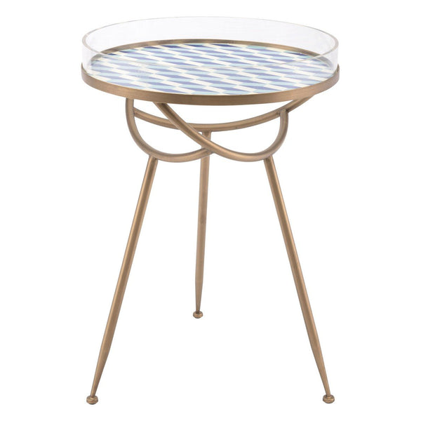Zuo Modern Lattice Round Table Blue - A11021