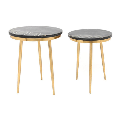 Zuo Modern Rumi Accent Tables (Set of 2) Black & Brass - A11568