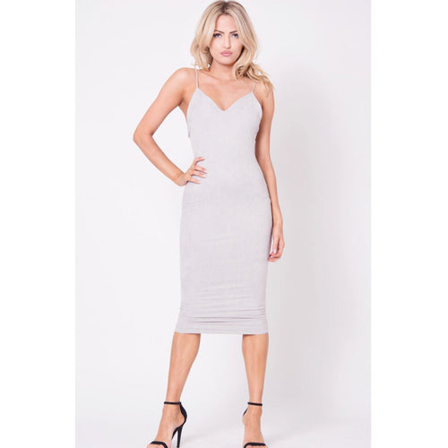 FAUX SUEDE SOLID MIDI DRESS-Dress-Savvy Chic Apparel-Savvy Chic Apparel