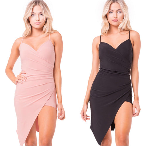 Surplice Asymmetrical Dress