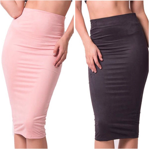 High Waist Suede Midi Skirt-Skirt-Lux LA-Savvy Chic Apparel