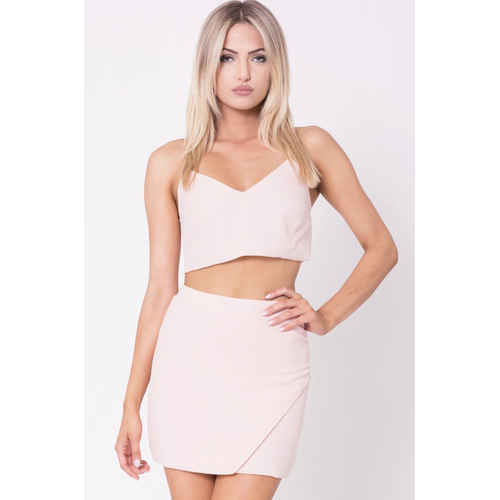 Lace up Back Solid Top and Skirt Set