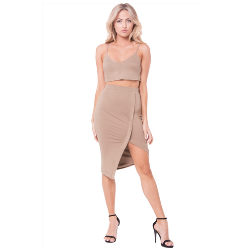 Solid Crop Top and Asymestrical Skirt Set