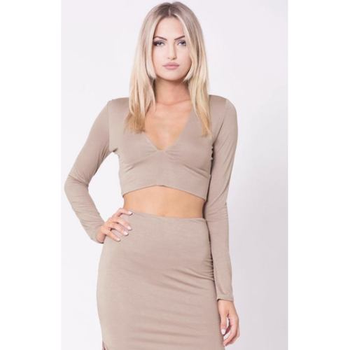 Long Sleeve Crop and Skirt Set