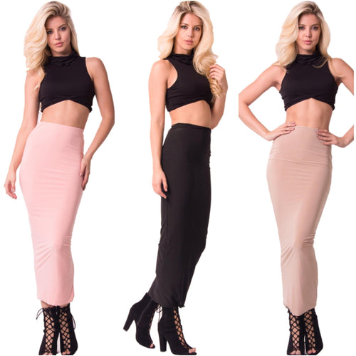 Ankle Length Bodycon Skirt, Three Colors-Skirt-Savvy Chic Apparel-Savvy Chic Apparel