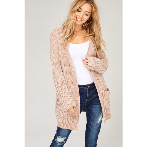 Chenille Cardigan Taupe Arrives 11/15 preorder now!