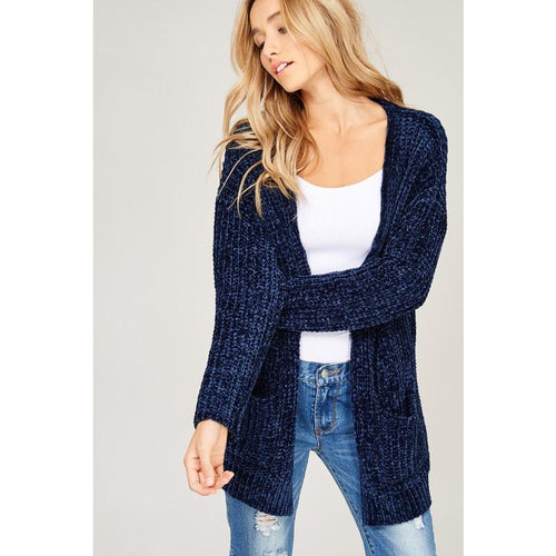 Chenille Cardigan Navy Arrives 11/15 preorder now!
