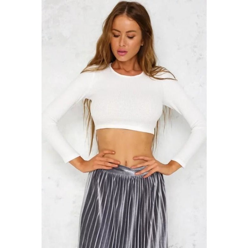 Tie Back Crop Top - White- Preorder-Tops-Savvy Chic Apparel-Savvy Chic Apparel