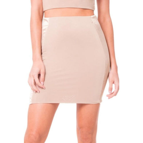 Satin Trim Mini Skirt - Nude-Skirt-Lux LA-Savvy Chic Apparel