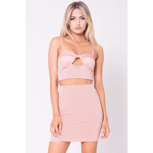 Satin Trim Mini Skirt - Blush-Skirt-Lux LA-Savvy Chic Apparel