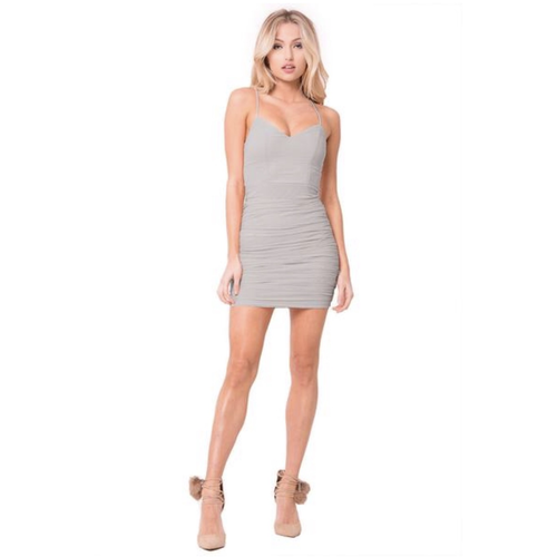 Aniela Ruched Mesh Mini Dress - Grey-Dress-Savvy Chic Apparel-Savvy Chic Apparel