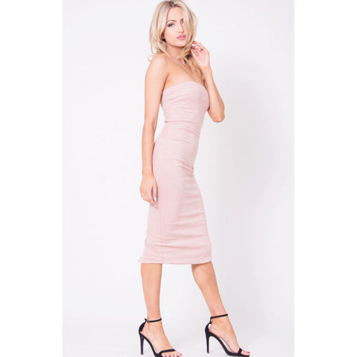 Strapless Suede Midi Dress - Mauve-Dress-Lux LA-Savvy Chic Apparel
