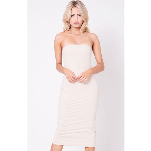 Strapless Suede Midi Dress-Dress-Lux LA-Savvy Chic Apparel