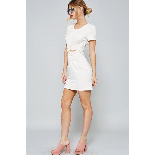 Dress - Ribbed Knot Dress In Blush/White And Grey/White