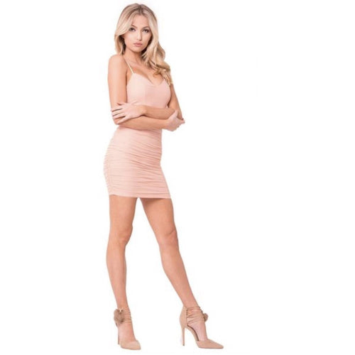Aniela Ruched Mini Dress - Blush-Dress-Savvy Chic Apparel-Savvy Chic Apparel