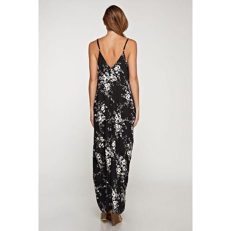 Black Floral Cocoon Maxi Dress