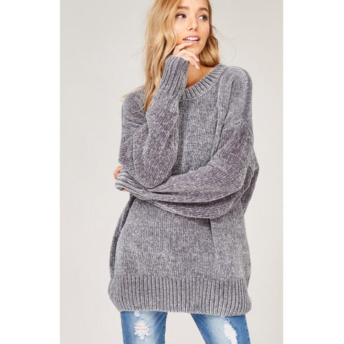 Velvet Yarn Knit Sweater - Grey-Sweater-Savvy Chic Apparel-Savvy Chic Apparel