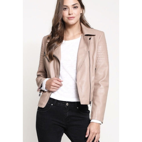 VEGAN FAUX LEATHER BIKER JACKET 3 COLORS