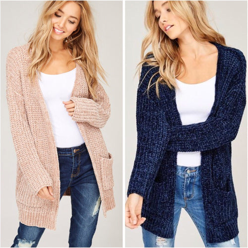 Chenille Cardigan Two Colors-Cardigan-Savvy Chic Apparel-Savvy Chic Apparel