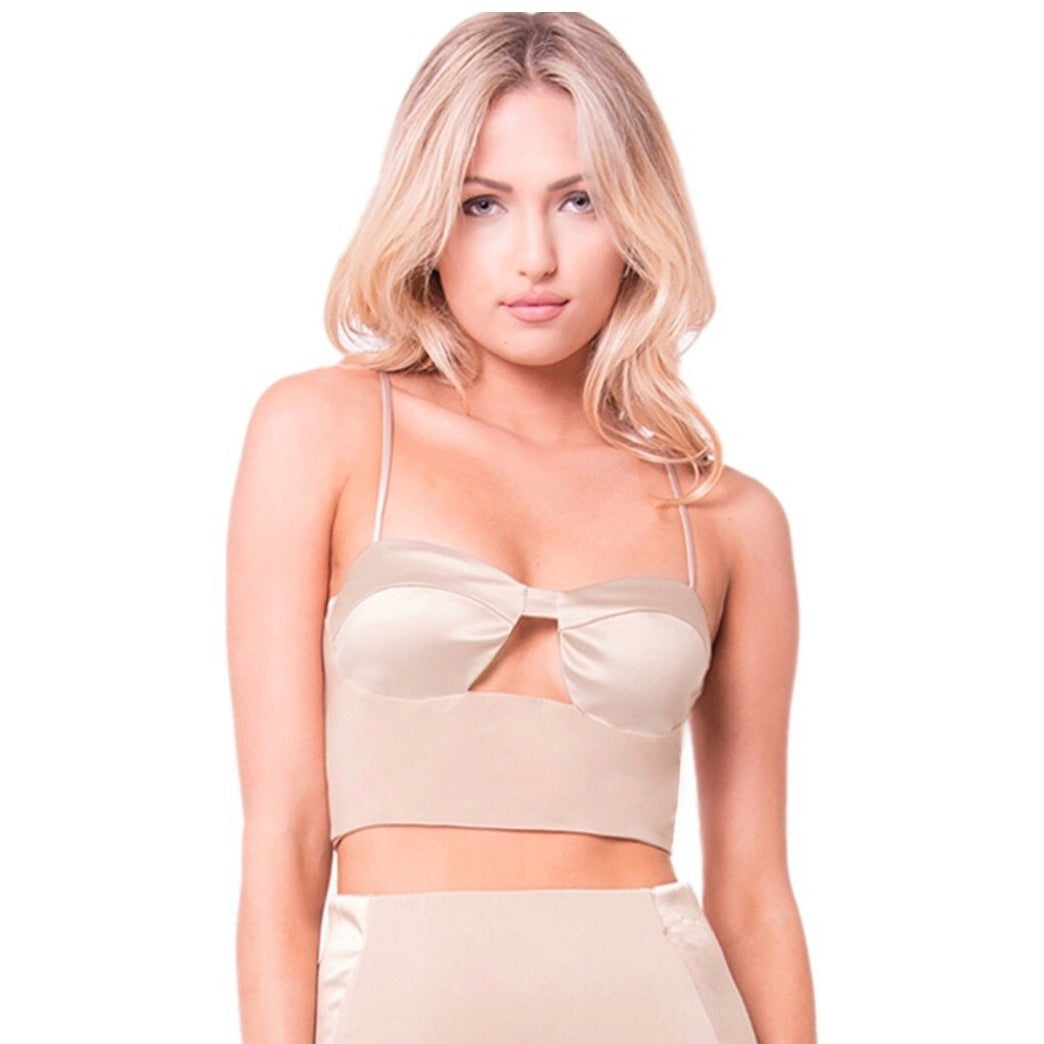 Satin Trim Crop Top-Tops-Lux LA-Savvy Chic Apparel