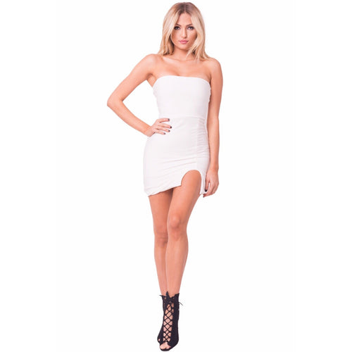 Strapless Solid Mini Dress-Dress-Savvy Chic Apparel-Savvy Chic Apparel
