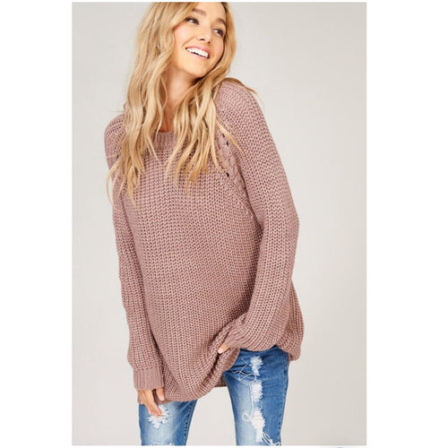 Lace Up Knit Sweater-Sweater-Savvy Chic Apparel-Savvy Chic Apparel
