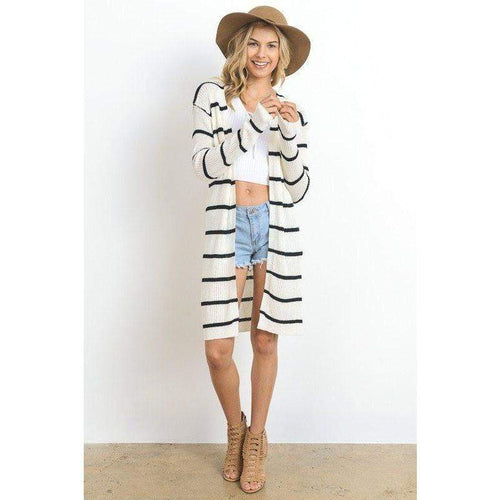 Jacket - Black And White Striped Cardigan