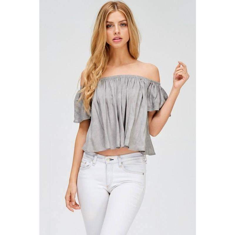 Off The Shoulder Top - Mineral Washed Off The Shoulder Top