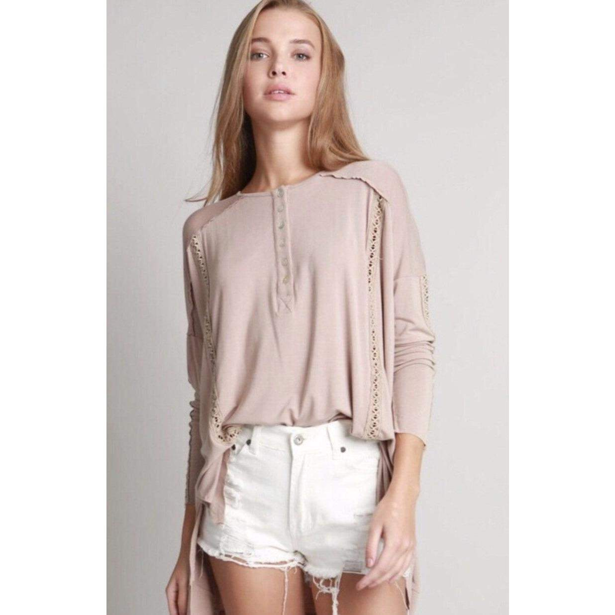 Tops - Dolman Lace Inset Henley Top