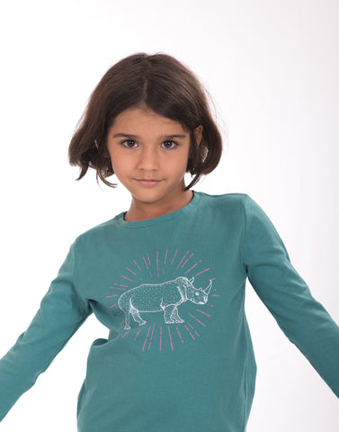 Rhino Spark 100% Cotton Kids t-shirt Green