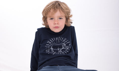 Rory Rhino 100% Cotton Kids Navy Sweatshirt