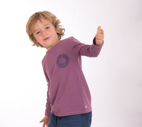 London Lion  100% Cotton Kids t-shirt purple