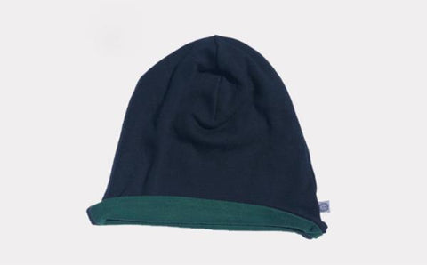 Reversible Beani Hat - Navy & Green