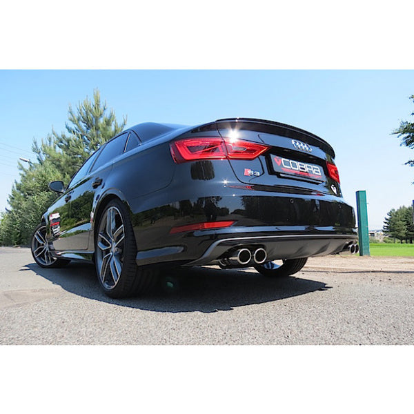 AU68b Cobra Sport Audi S3 Saloon Quattro (8V) Non Resonated Turbo Back Exhaust with Sports Cat