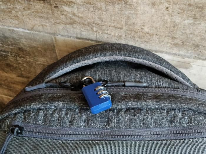 Put the lock on your bag for extra security.