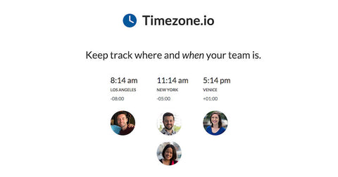 Track a time zone of your working team with TimeZone.io