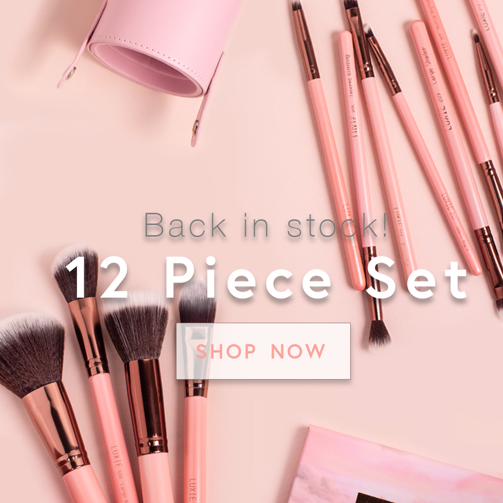 Back in Stock! 12 Piece Set Rose Gold Makeup Brushes. Shop Now