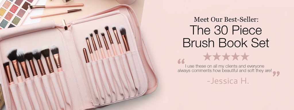 "Meet our best-seller: Luxie's 30 Piece Brush book Set. ""I use these on all my clients and everyone always comments how beautiful and soft they are!"" click to purchase."