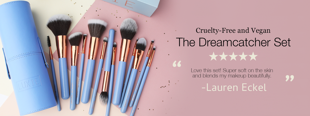 "Cruelty-free and vegan, Luxie's Dreamcatcher set. ""Love this set! Super soft on the skin and blends my makeup beautifully"" - Lauren Eckel. click here to purchase."