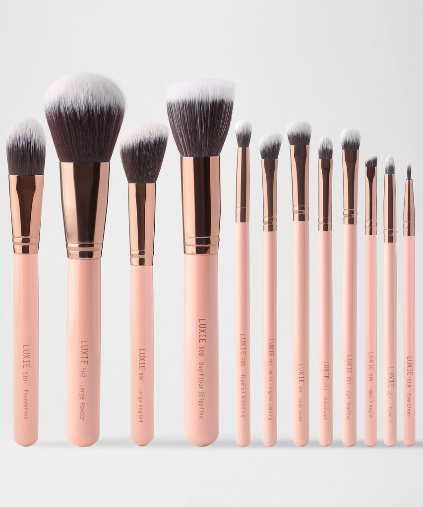 LUXIE Signature Rose Gold Makeup Brush Set - luxiebeauty