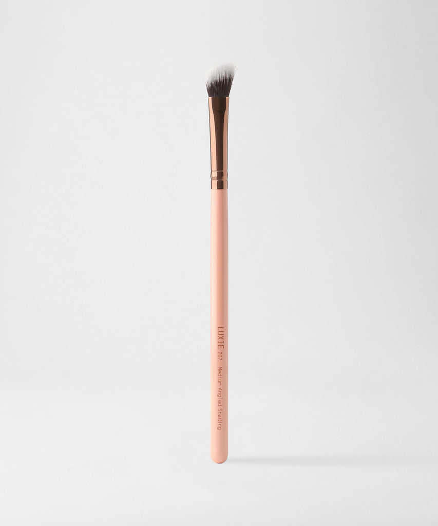 Luxie 207 Medium Angled Shading Makeup Brush - Rose Gold - luxiebeauty