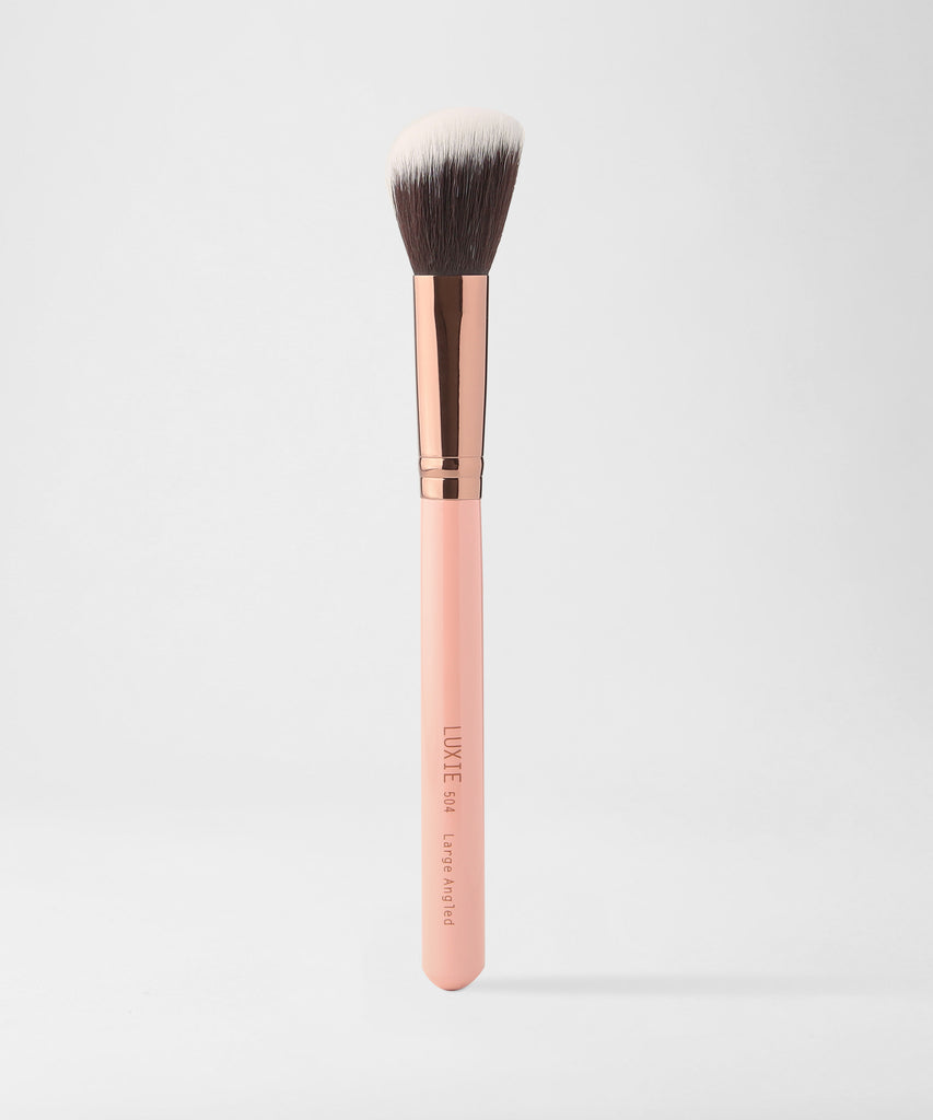 LUXIE 504 Large Angled Makeup Brush - Rose Gold - luxiebeauty
